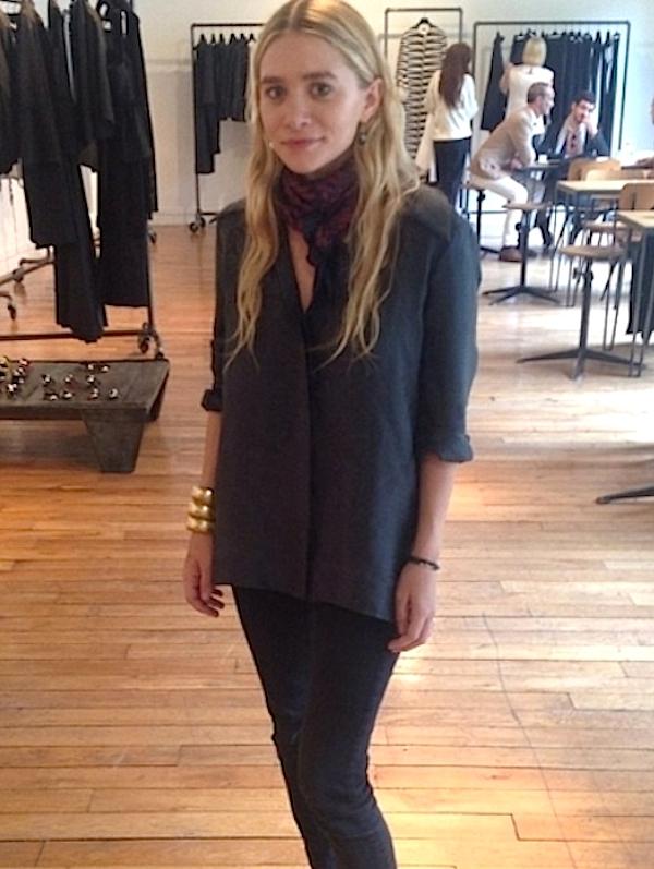 Olsens-Anonymous-Blog-Style-Fashion-Ashley-Olsen-Silk-Button-Down-And-Denim-Long-Wavy-Hair-Drop-Earrings-Coil-Gold-Bangle-Bracelet_1