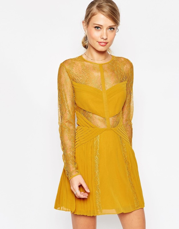asos lace and pleat detail mini dress