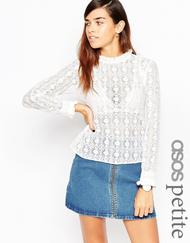 asos petite all over lace frill neck top cotone