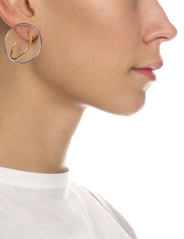 charlotte Chesnais gold silver saturn earrings