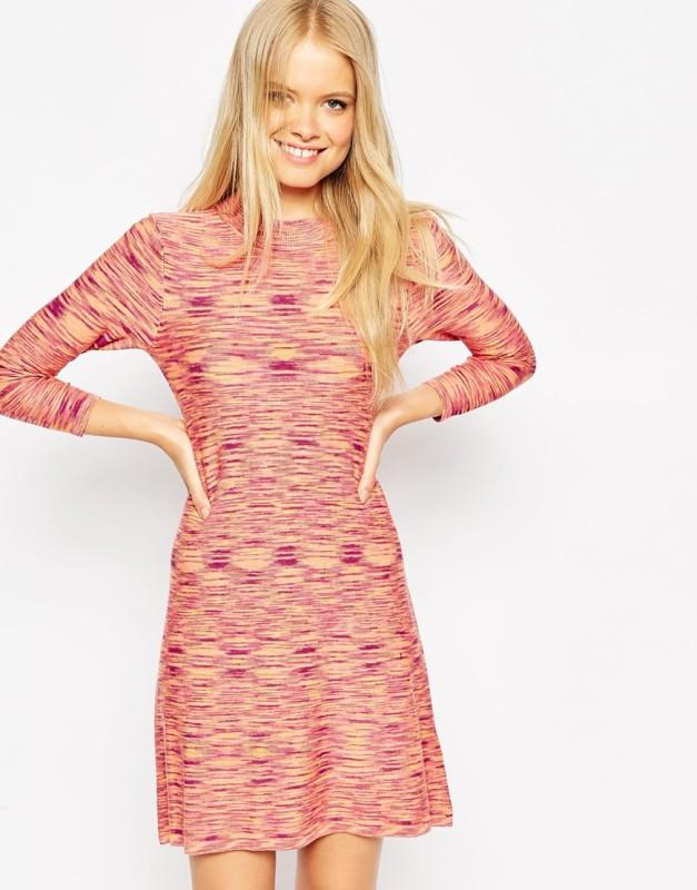 knit dress in space dye a-line shape