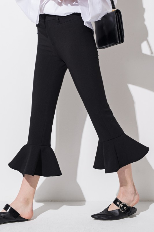 black flare crop pants frontrow