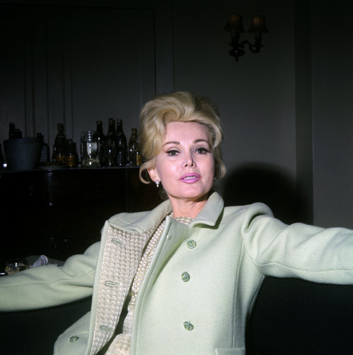 Film star Zsa Zsa Gabor at her London hotel.