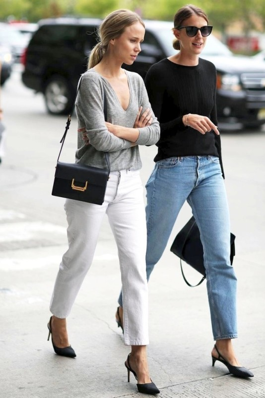 Le-Fashion-Blog-Elin-Kling-Street-Style-Grey-Tee-Saint-Laurent-Bag-White-Denim-Cat-Eye-Sunglasses-Black-Knit-Levis-Jeans-Slingback-Heels