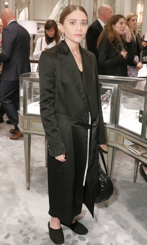 Olsens-Anonymous-Fashion-Blog-Ashley-Olsen-Bergdorf-Goodman-Drop-Earrings-Satin-Tuxedo-Coat-The-Row-Croc-Bag-Solange-Knowles-Linda-Fargo