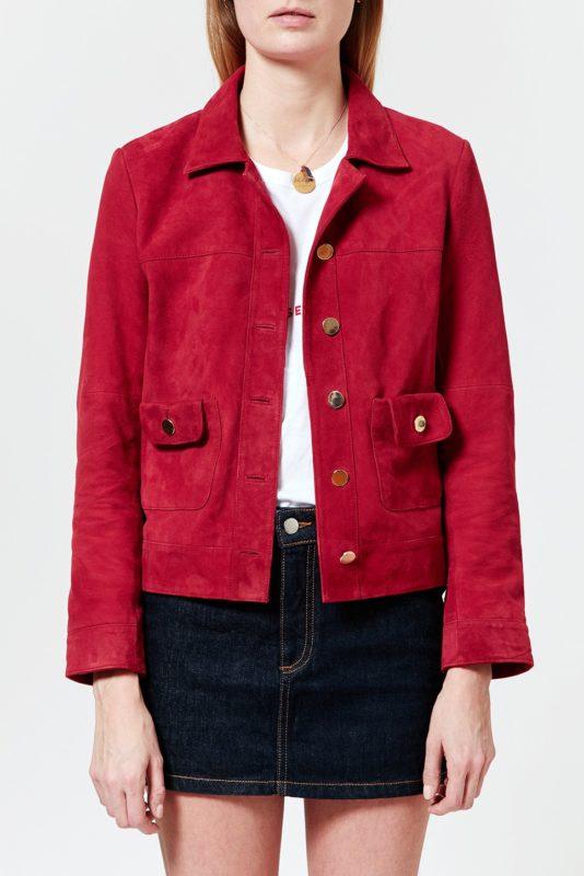 rouge jeanne damas veste mona