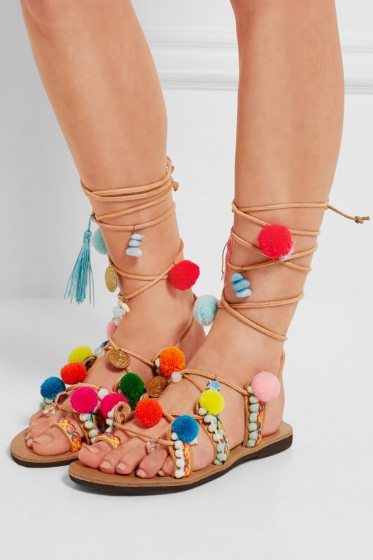 Mabu-Embellished-Leather-Sandals-Pom-Poms