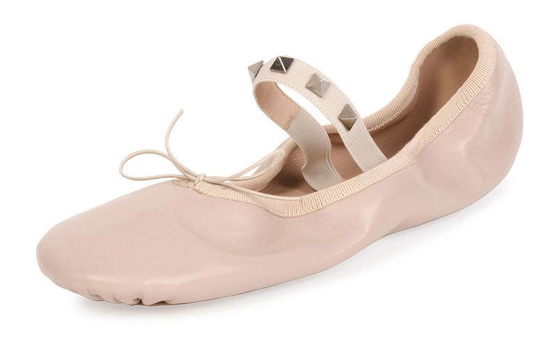 valentino-rockstud-leather-ballerina-flat-poudre