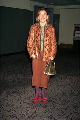 1996, Manhattan, New York City, New York State, USA --- Italian designer Miuccia Prada wears some of her creations to the VH-1 Fashion and Music Awards. --- Image by © Mitchell Gerber/CORBIS