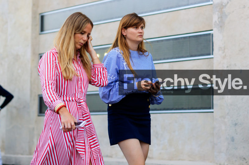 atmosphere details, blue shirt, blue skirt, detail, eugenie trochu, fashion week, frenchystyle, FW, graphic dress, horizontal, jennifer neyt, jonathan paciullo, MFW, MILAN, printed dress, red dress, SPRING SUMMER 2018, SS 18, street style, striped dress, striped shirt