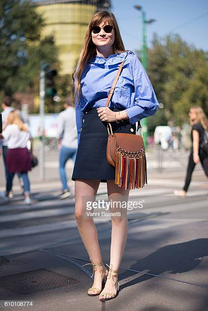 MILAN, ITALY - SEPTEMBER 24: Eugenie Trochu poses after the Jil Sander show during Milan Fashion Week Spring/Summer 2017 on September 24, 2016 in Milan, Italy. (Photo by Vanni Bassetti/Getty Images)