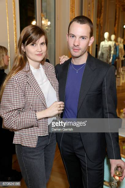 PARIS, FRANCE - APRIL 20: (L-R) Eugenie Trochu and Daniel Thawley attend the Erdem x MATCHESFASHION.COM dinner to celebrate its exclusive collection at Hotel de La Salle on April 20, 2017 in Paris, France. (Photo by Darren Gerrish/WireImage)