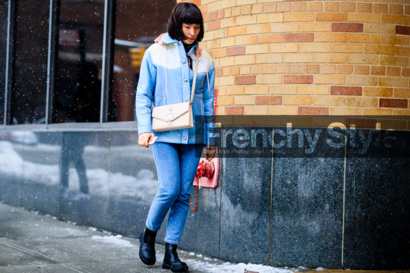 atmosphere details, AUTUMN WINTER 2017-2018, AW 17-18, black boots, blue denim, blue jacket, clara cornet, denim pants, down jacket, FALL WINTER 2017-2018, fashion week, frenchystyle, full length, FW, FW 17-18, horizontal, jeans, jonathan paciullo, jw anderson, leather bag, leather boots, miu miu, NEW YORK, NYFW, pink bag, street style, trousers