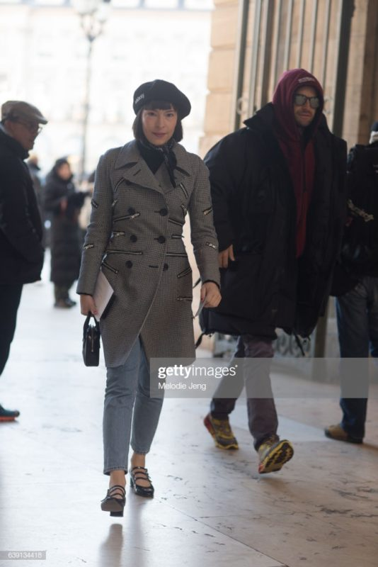 Clara Cornet of The Webster wears a black Stussy hat and Carpel Paris shoes outside the Balenciaga show at Place Vendome on January 18, 2017 in Paris, France. Rodolphe Nantas wears Vetements.