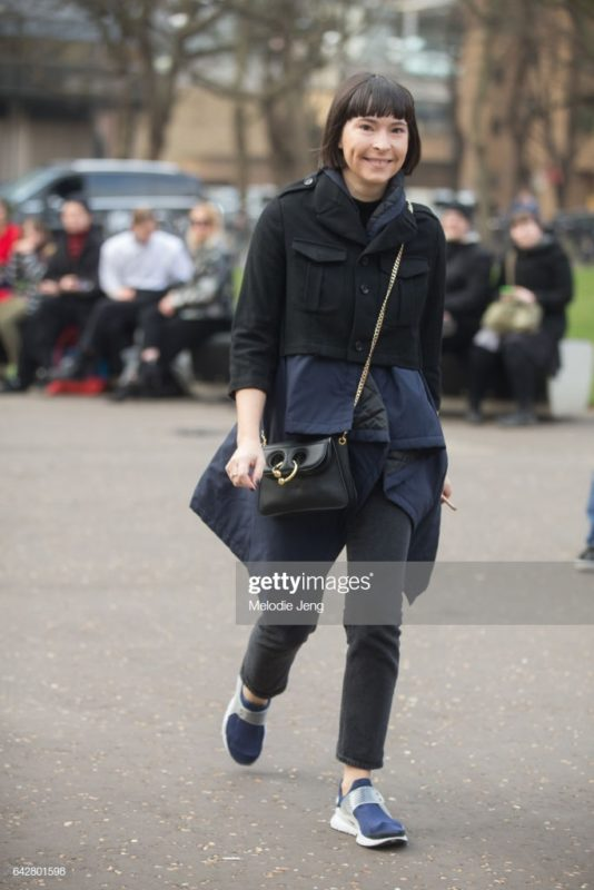 LONDON, ENGLAND - FEBRUARY 18: Clara Cornet carries a J.W. Anderson bag on day 2 of the London Fashion Week February 2017 collections on February 18, 2017 in London, England. (Photo by Melodie Jeng/Getty Images)