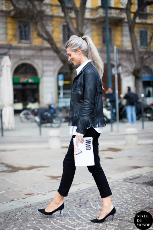 1.-fringe-jacket-with-skinny-pants-and-classic-pumps