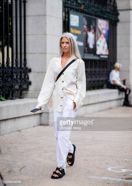 NEW YORK, NY - SEPTEMBER 07: Sarah Harris wearing white pants, Chanel sandals is seen outside Tory Burch during New York Fashion Week Spring/Summer 2019 on September 7, 2018 in New York City. (Photo by Christian Vierig/Getty Images)