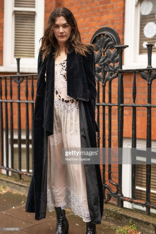 LONDON, ENGLAND - FEBRUARY 18: Madelynn Furlong is seen on the street during London Fashion Week February 2019 wearing JW Anderson on February 18, 2019 in London, England. (Photo by Matthew Sperzel/Getty Images)